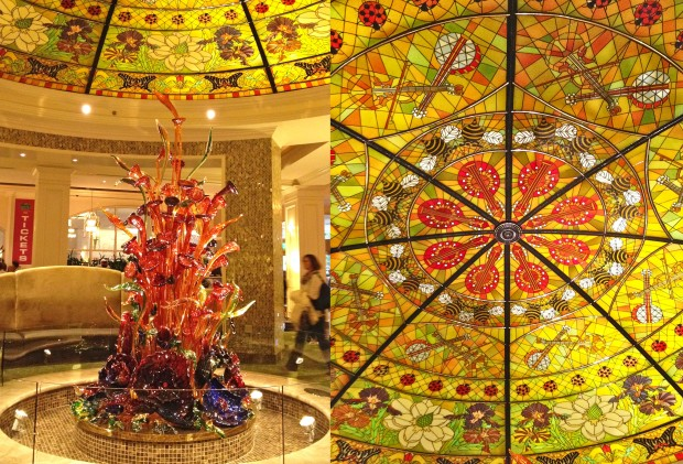 Glass sculpture and ceiling art at Gaylord Opryland Resort